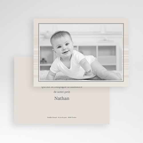 Carte remerciement naissance garçon Nathan pas cher