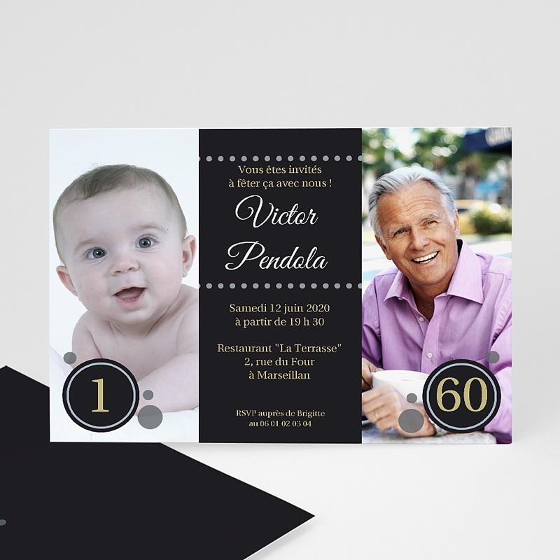 Fabuleux Carte invitation anniversaire 60 ans femme, homme | Carteland LL71