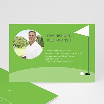 Carte invitation anniversaire adulte Golfeur