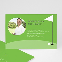 Invitations Anniversaire adulte Golfeur