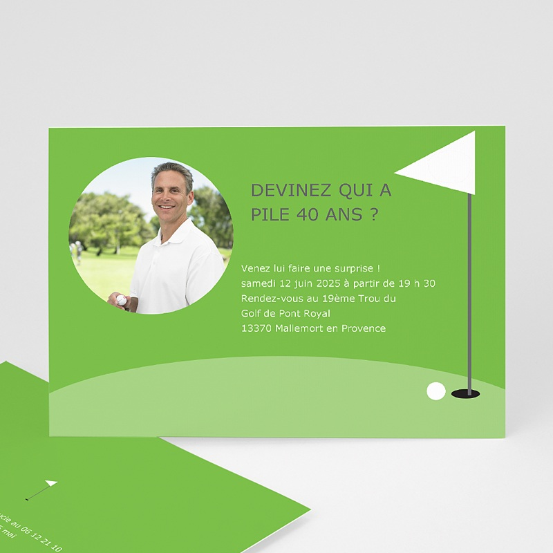 Carte Invitation Anniversaire Adulte Golfeur
