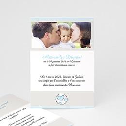 Faire-part adoption garçon Parents Bénits - Bleu ciel