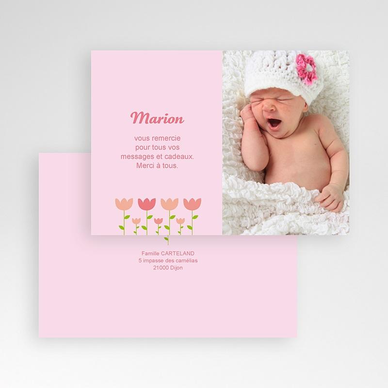 Carte Remerciement Naissance Fille Tulipe pas cher
