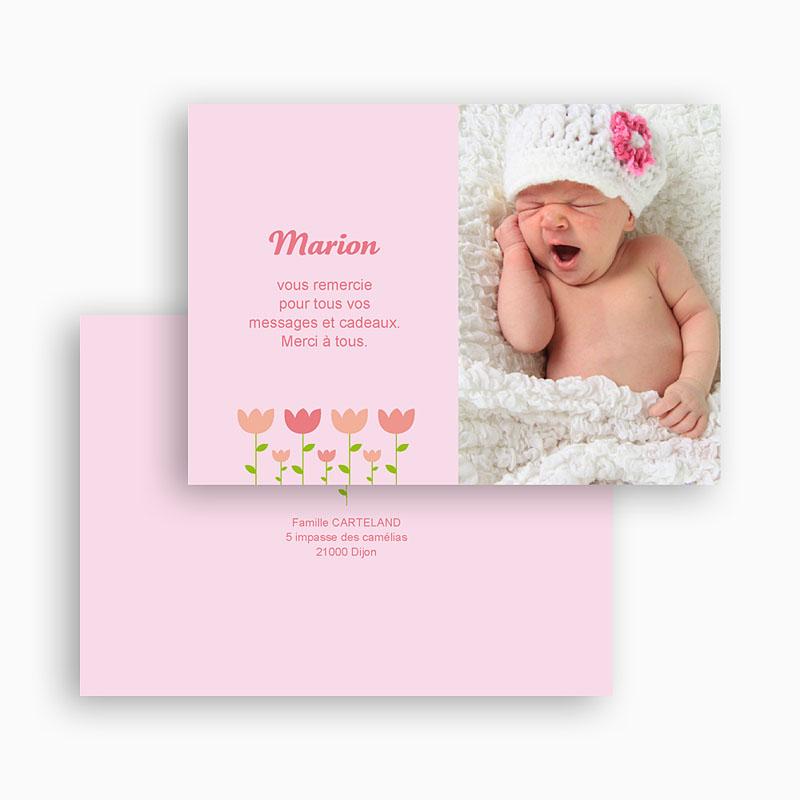 Carte Remerciement Naissance Fille Tulipe gratuit