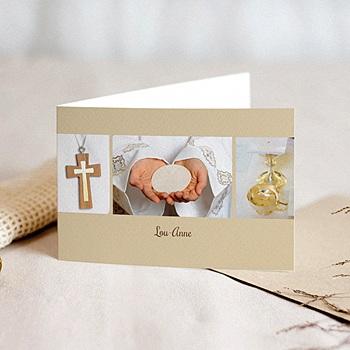 Achat faire-part communion fille communion, profession de foi - beige