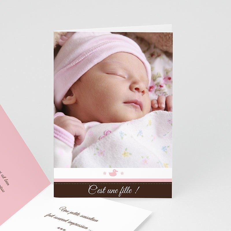 Faire-part adoption fille Naissance fille - rose