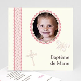 Faire-part baptême fille Baptême Rétro - Fille
