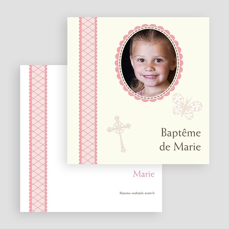Faire-part baptême fille Baptême Rétro - Fille gratuit