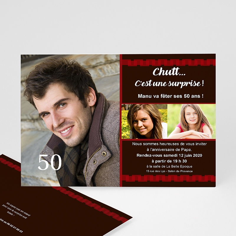 Carte invitation anniversaire adulte Anniv