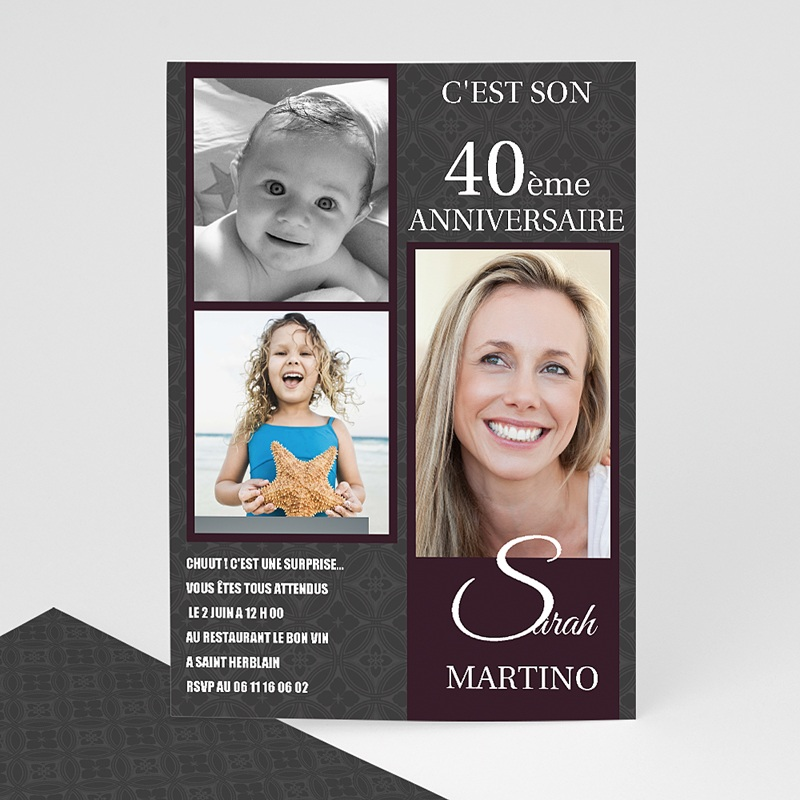 Carte Invitation Anniversaire Adulte Star du Jour