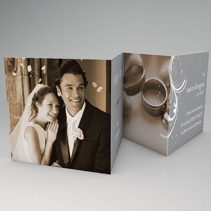 Carte invitation anniversaire mariage Argentissime gratuit