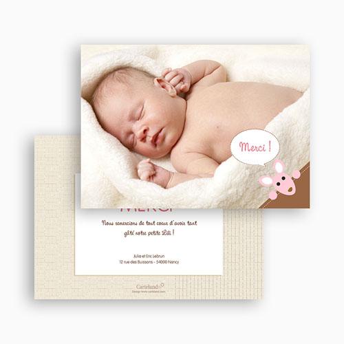 Remerciements Naissance Fille - Kangourou Lily 17183 preview