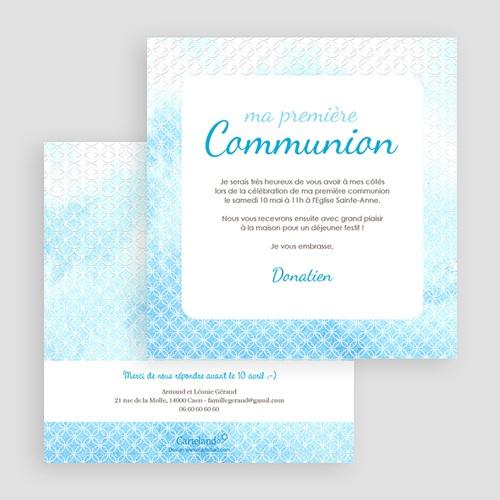 Faire-part Communion Garçon - Effet d'eau Bénite 17188 thumb