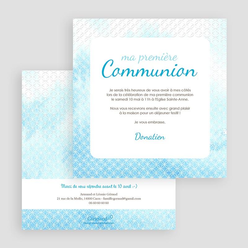 Faire-Part Communion Garçon Effet d'eau Bénite gratuit