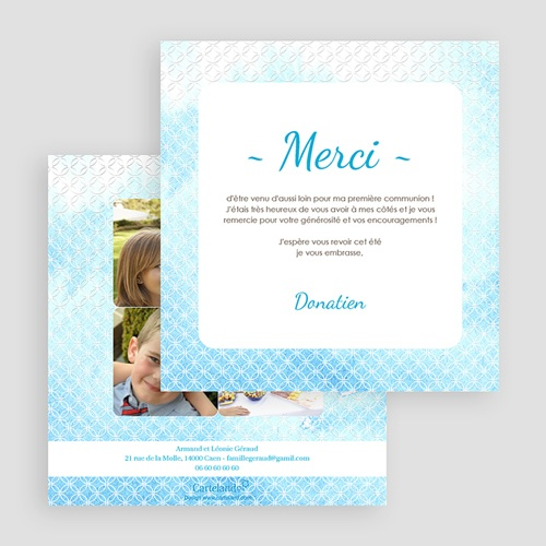 Carte Remerciement Communion Garçon Effet d'eau Bénite gratuit