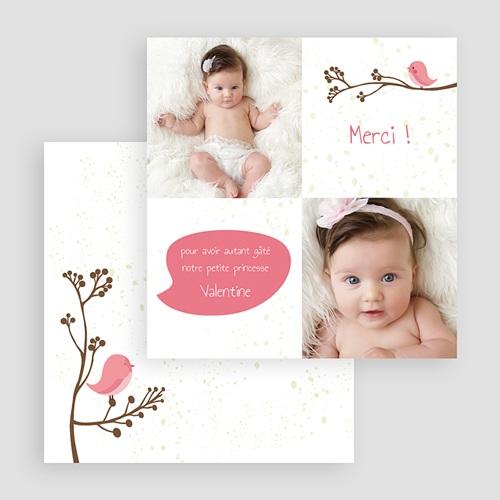 Carte remerciement naissance fille Piou piou - Rose gratuit