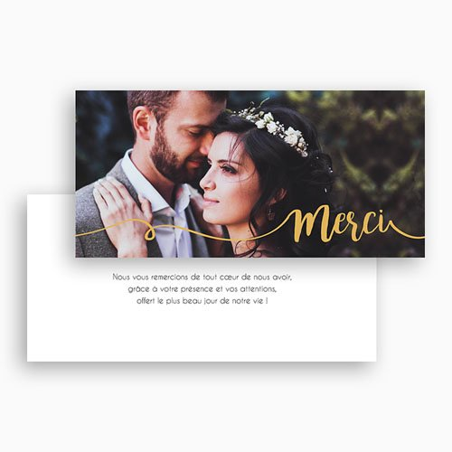 Carte Remerciements Mariage - Gris d'Amour 17226 thumb