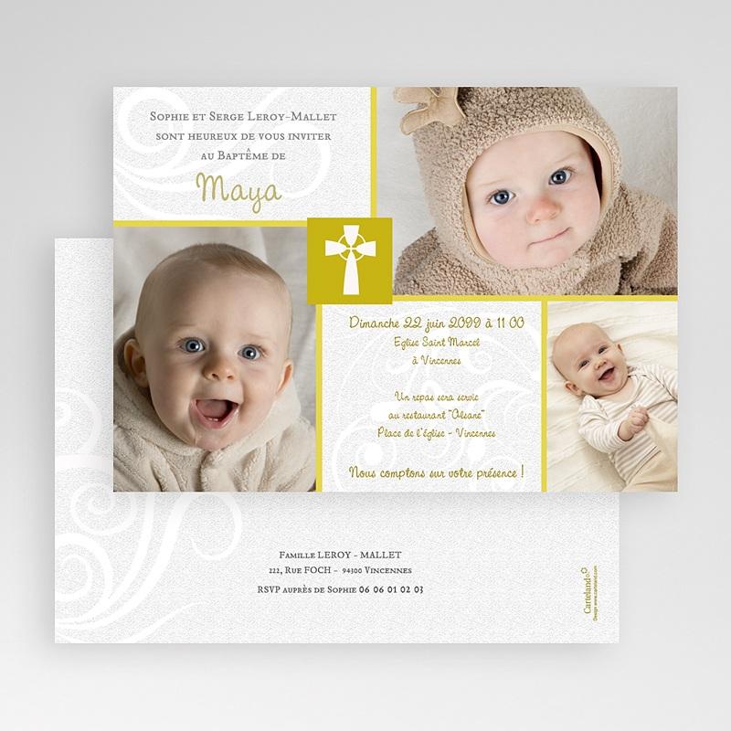 Faire-Part Baptême Fille Moderne Doré gratuit