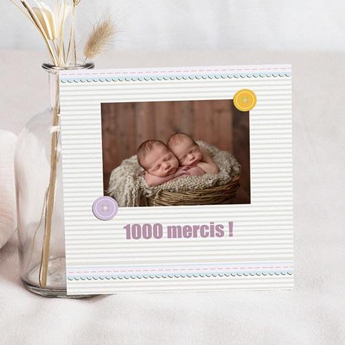 Carte remerciement naissance jumeaux Jumeaux - Jumelles
