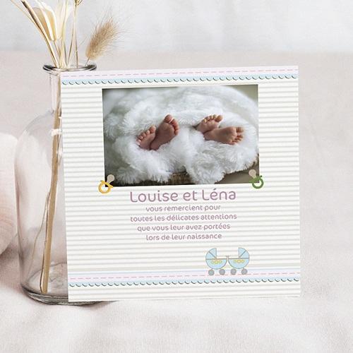 Carte remerciement naissance jumeaux Jumeaux - Jumelles pas cher