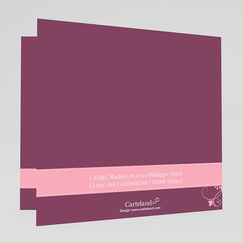 Invitation Confirmation  -  Mauve, Bandeau Rose 17417 thumb