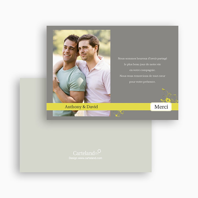 Carte remerciement pacs Design Gris et Bandeau Jaune gratuit