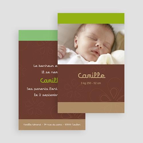 Faire-part naissance fille Chocolat, pistache et marron glacé gratuit