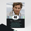 Carte invitation anniversaire adulte 40 Rayures