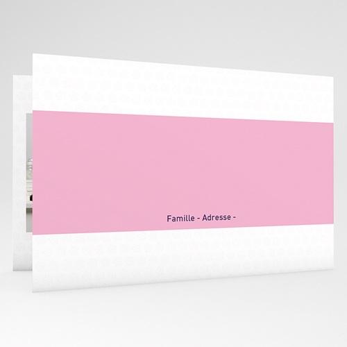 Faire-Part Naissance Fille Bande rose et petites fleurs gratuit
