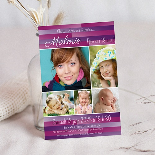 Invitation Anniversaire Adulte - Multiphotos et rayures 1762 thumb