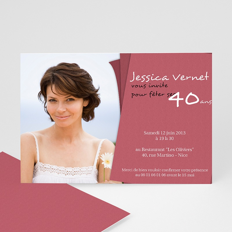 Carte Invitation Anniversaire Adulte Rose-thé