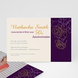 Carte invitation anniversaire adulte Violine