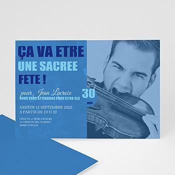 Carte invitation anniversaire adulte Ombre bleue
