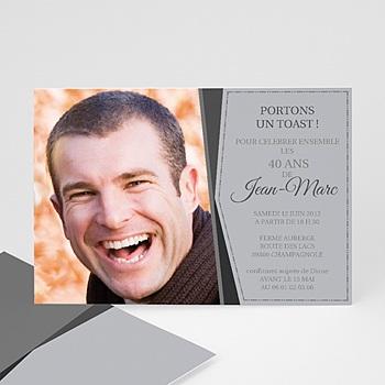 Carte invitation anniversaire adulte cadre en argent personnalisable