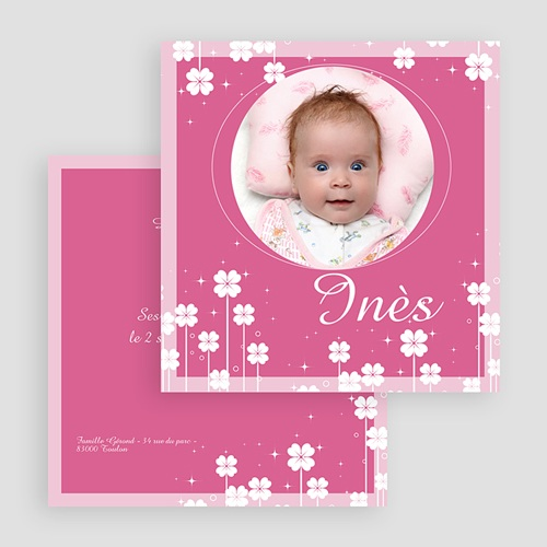 Faire-part naissance fille Petite Fleur - Rose gratuit