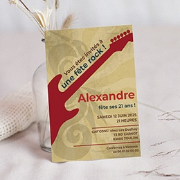 Carte invitation anniversaire adulte Guitare