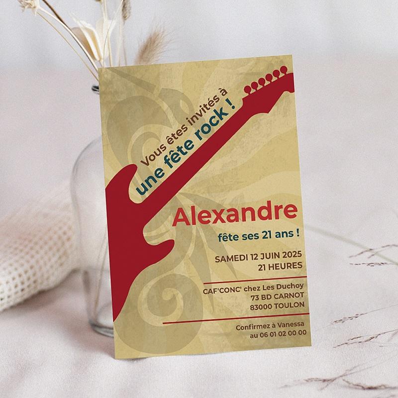 Invitation Anniversaire Adulte - Guitare 1792 thumb