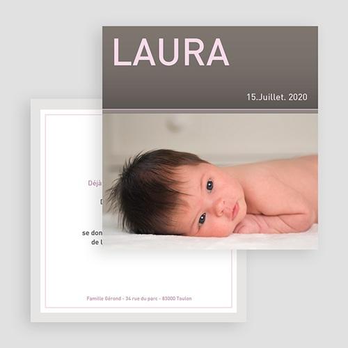 Faire-Part Naissance Fille Laure-Gris gratuit