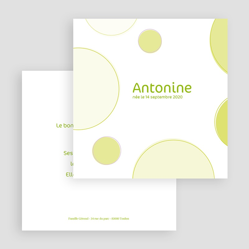 Faire-Part Naissance Fille Antonine gratuit