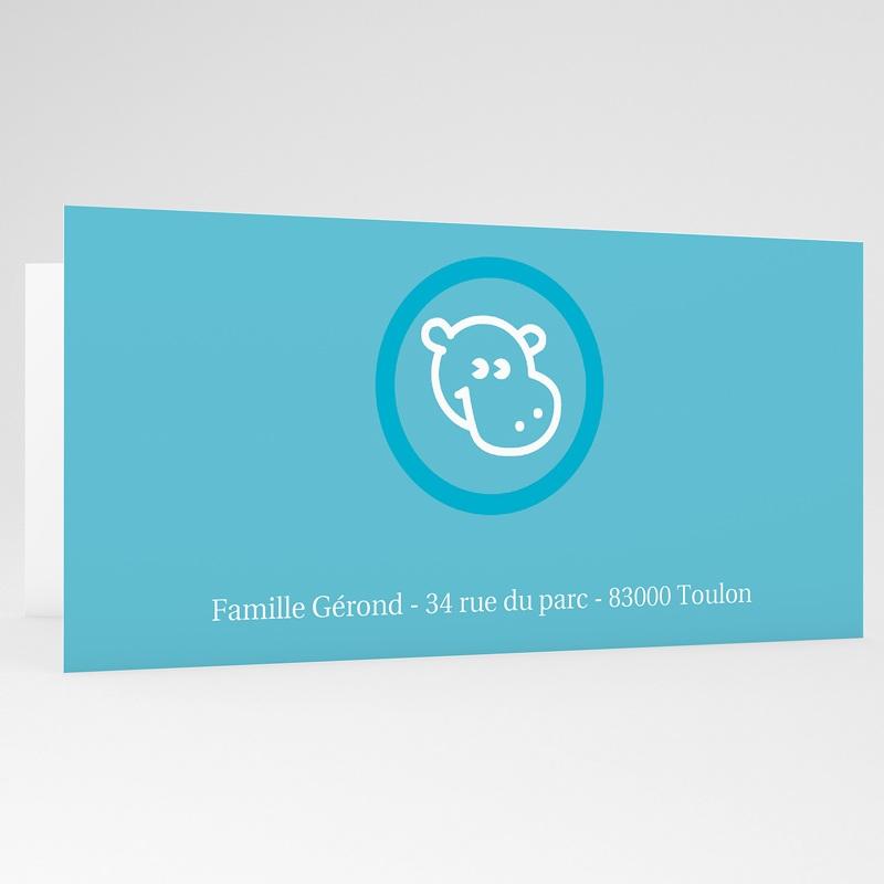 Faire-Part Naissance Garçon - Hippopotame bleu 17995 thumb