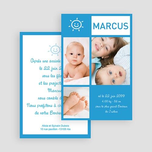 Faire-Part Naissance Garçon - Photo en miniatures - bleu 18026 thumb