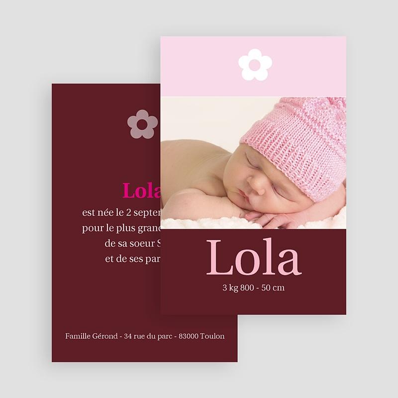 Faire-part naissance fille Design Fleuri  gratuit