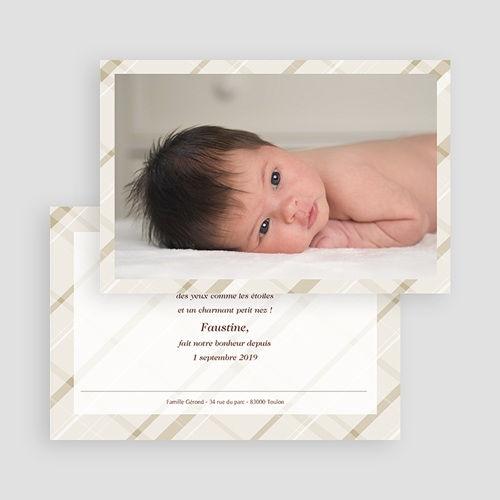 Faire-Part Naissance Fille - Carte photo beige rayée 18029 thumb
