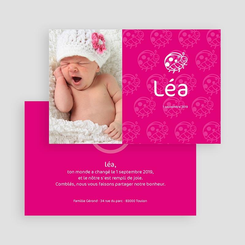 Faire-part naissance fille Coccinelle rose fuchsia gratuit