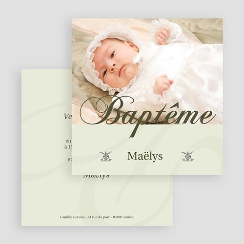 Faire-part Baptême Fille - Cérémonie - Beige 18067 thumb