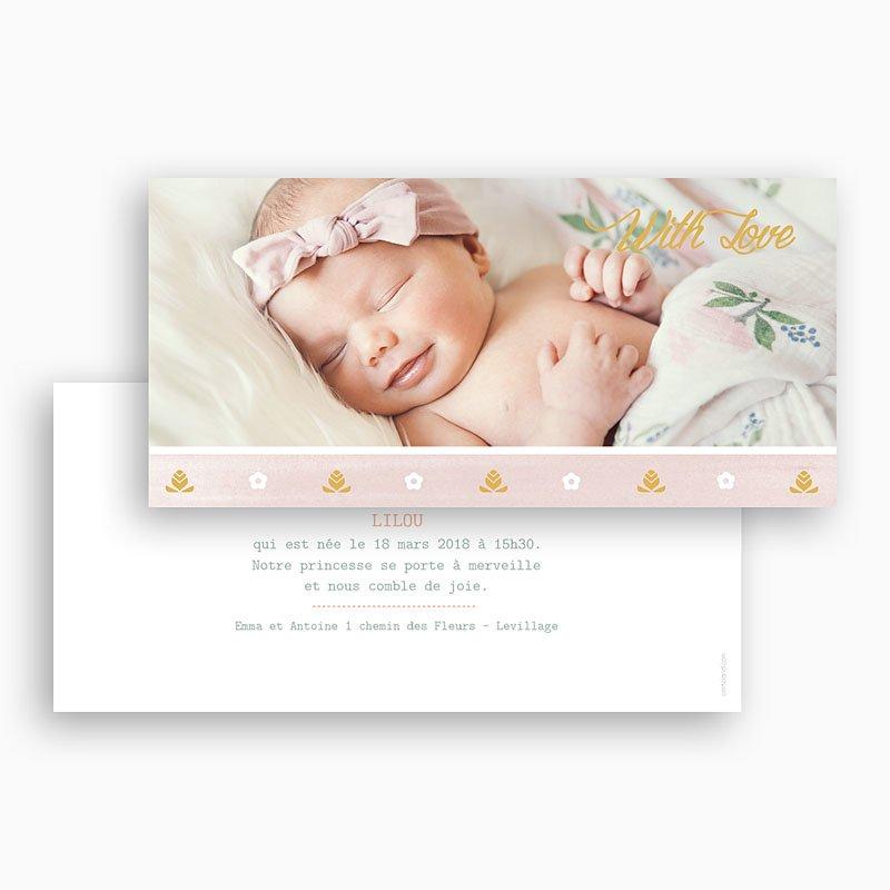 Faire-part naissance fille Frise rose douceur gratuit