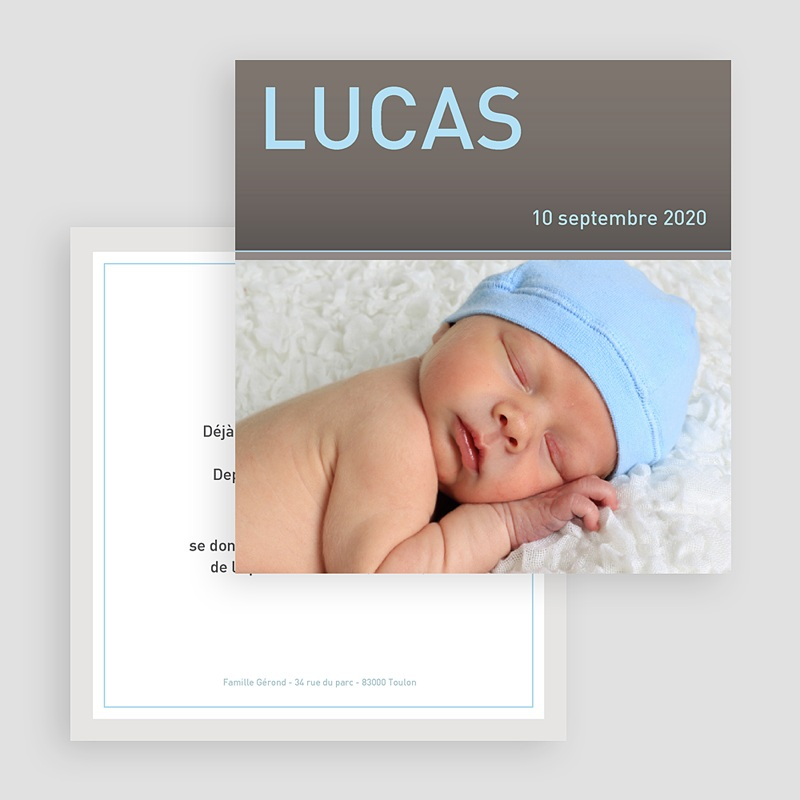 Faire-Part Naissance Garçon Lucas gratuit