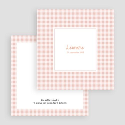 Faire-Part Naissance Fille - Vichy rose 18072 thumb