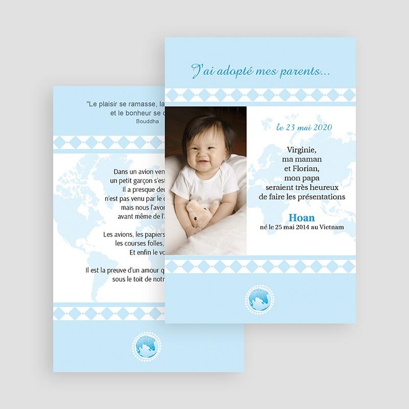 Faire-Part Adoption Garçon L'amour sans frontière - Bleu gratuit