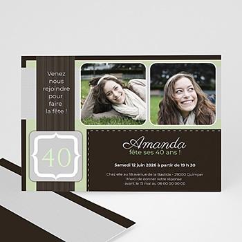 Carte invitation anniversaire adulte menthe chocolat sur mesure